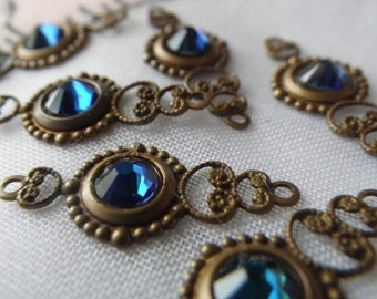 Bermuda Blue Swarovski Crystal Fancy Filigree Drops 6 Pcs