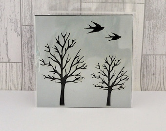 "Tree and Bird 6x6"" Stencil by Imagine Design Create"