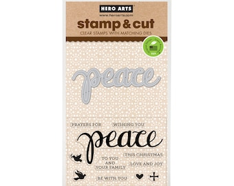 Hero Arts Stamp & Cut: PEACE, clear stamps with metal die set (DC187) - SD061