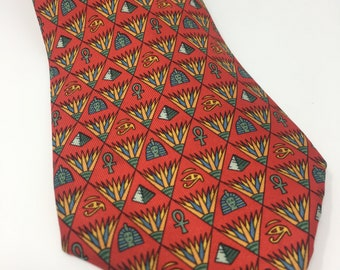 Hermes Tie - 100%  Silk - Egyptian Print - Made in France