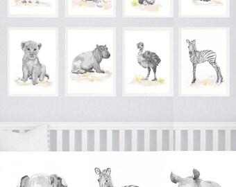 Neutral Nursery Set of 8 Prints Baby Animals Watercolor painting Girl  Nursery Decor Safari Art Watercolour Print  Gray Jungle Animal