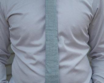 Light blue heather with mint polka dots skinny necktie