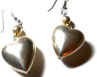 Vintage Heart Earrings Sterling Silver Puffy 1980s Valentines Day