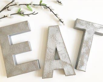 Eat Silver Letter Kitchen Decor; Eat; Eat Letters; Silver Letters;eat Sign