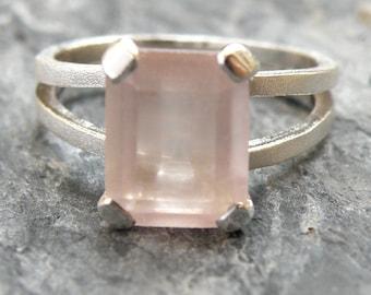 Rose Quartz Engagement Ring, Rose Quartz Ring, Sterling Silver Ring, Rose Quartz Jewelry, Pink Quartz Ring For Girlfriend - MADE TO ORDER