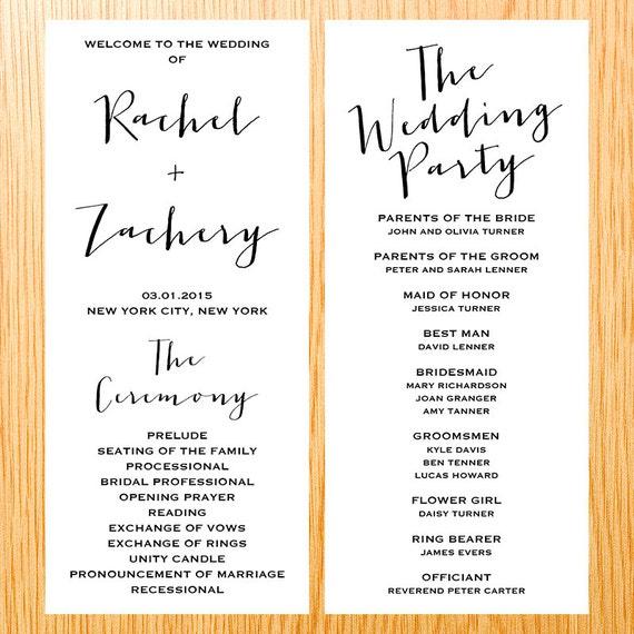 Simple Wedding Ceremony Wedding Program Card Modern Minimalist