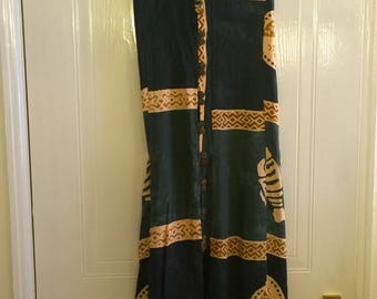Blue and green batik dress with fish and shells
