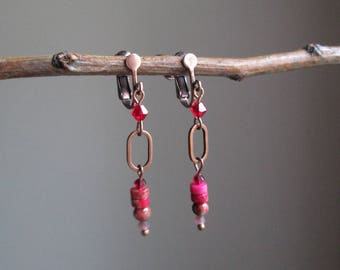 "Clips / earrings ""Carmina"" copper, Swarowski Crystal and semi-precious stones"