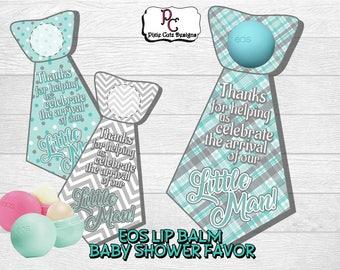 EOS lip balm baby shower favor; EOS lip balm favor; EOS favor; Baby boy shower favor; shower favor; lip balm shower favor; little man favor