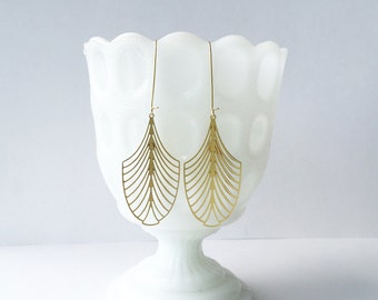 Art Deco Leaf Earrings | ATL-E-128