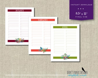 Printable Flower Bouquet Calendar - Perpetual Calendar - Birthday, Anniversary Calendar - Colorful Eternal Planner - Instant Download PDF