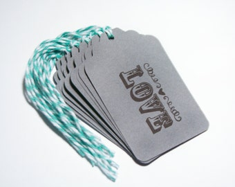 Wedding Love tag 10 bridal shower party tag food favors wish tree teal gray