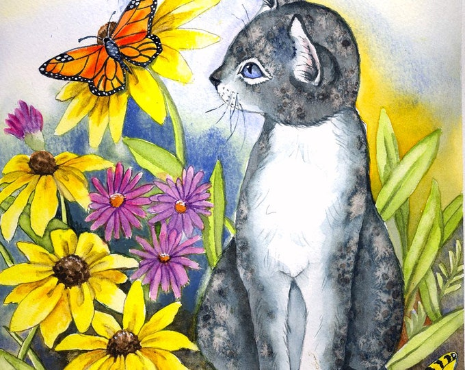CUSTOM ORDER MAT - Cat; print on watercolor paper, flowers, butterflies, matted, hand painted on mat, one of a kind print, wall art