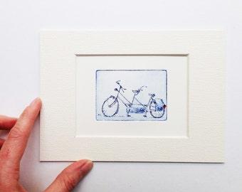tandem bicycle, small original etching