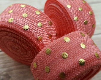 5/8 CORAL with Gold Foil Polka Dot Fold Over Elastic