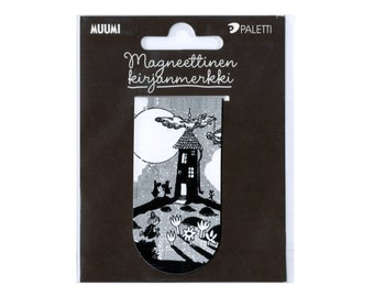 Moomin Magnetic Bookmark, Party Favor, Page Marker, Tove Jansson, Monochrome, Gift