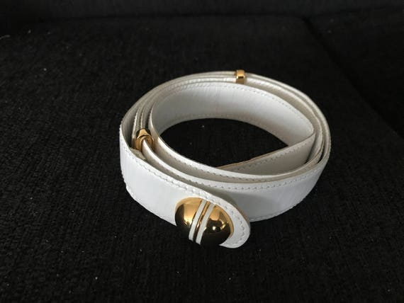 Vintage Italian Roda white leather with gold colored details belt