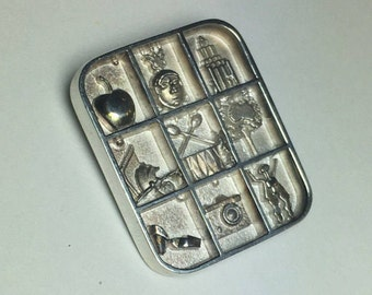 Silver Brooch, designer, Vintage Brooch, designer jewelry Molina