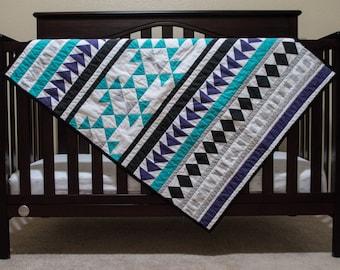 Baby Boy Quilt - Tribal Quilt - Geometric Quilt - Boy quilt - Baby boy nursery - Baby shower gift
