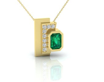 Colombian EMERALD and DIAMONDS PENDANT, Emerald Pendant, Emerald and Diamonds pendant, Contemporary Pendant