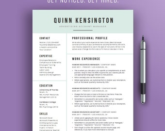 Resume Design Template | Modern Professional Resume Template | Word Doc | CV  Template