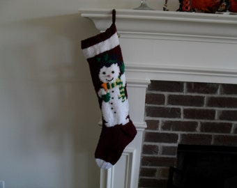 Hand Knit Christmas  Stocking of Mr. Snowman.  Last One Available for 2017
