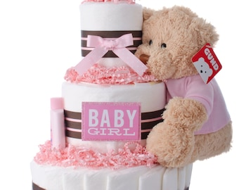 Darling Girl Baby Diaper Cake by Lil' Baby Cakes