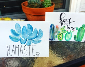 Namaste and Love Grows Here greeting cards.