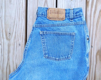 Waist 34 Gitano Short jeans Vintage 1990s Size 18 Petite Mom jeans High waisted High rise Vintage blue jeans Classic jeans