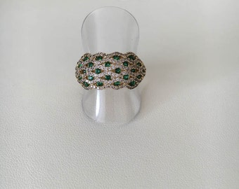Emerald Gold Ring, Emerald Rings for Women, CZ Gold Ring, Cz Emerald Ring