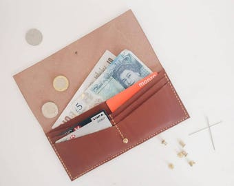 W02 - Large Wallet - handmade leather wallet, purse, card holder, minimalist design, personalised