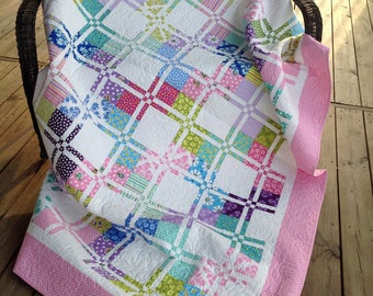 """Twin sized quilt or large throw, connecting squares, pink, green, purple, blue 76"""" x 92"""""""