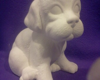 "Scioto Sitting Puppy ready to paint 7"" ceramic bisque"