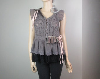 Boho Lagenlook Blouse Tunic Layered Dusty Plum & Black Gauze with Embroidery Lace Tattered Silk Ties Size S - M