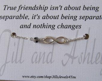Friendship Bracelet - Best Friend Infinity Bracelet - Long Distance Friendship - Friends Forever - Personalized Bracelet - Graduation Gift