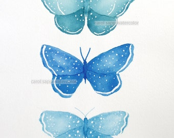 butterfly trio original watercolor-matted and framed-butterfly art-butterfly painting-carol sapp-blue butterflies-ready to hang-wall decor