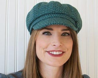 Womens Wool Newsboy Hat, Teal, Aqua Wool, Womens Hat, Newsboy Cap,