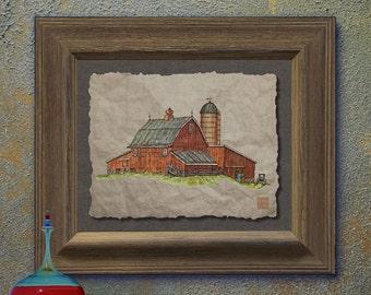 Nostalgic cute rustic wood barn art Whimsical yesteryear print adds Americana print farm life wall decor as 8x10 or 13x19 barn print