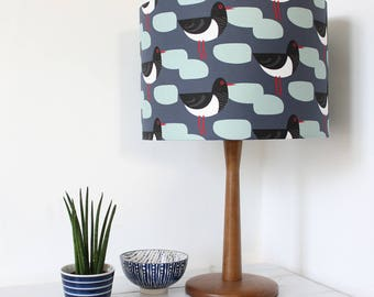 Dark Blue Oystercatcher Bird print Drum Lampshade Lamp Shade Lightshade