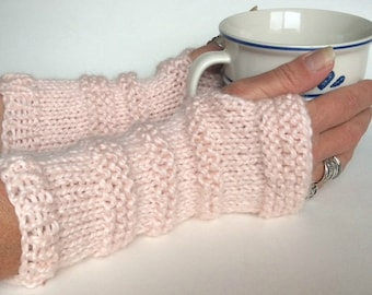 Blush Fingerless Gloves, Knit Wristwarmers, Knit Texting Gloves, Pink Knit Gloves, Pink Wrist Warmers, Pink Texting Gloves, Valentines Gift