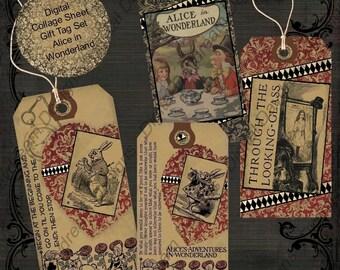 Alice in Wonderland instant Download Digital Printable Gift Tags - Set 1