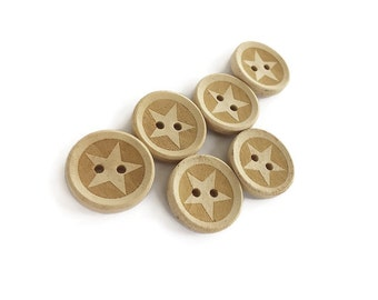 Unfinished Wooden button - Star Pattern Wood Sewing Buttons Natural Color 20mm - set of 6