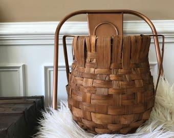 Antique Basket with Handles. Vintage Tobacco Basket. Geometric Pattern. Primitive. Woven Basket. Vintage Home Decor. Bohemian Boho Chic.