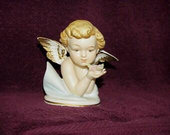 Vintage--Porcelain--Cherub--ANGEL--Figurine--Made In Japan--Holding Flowers In Hands