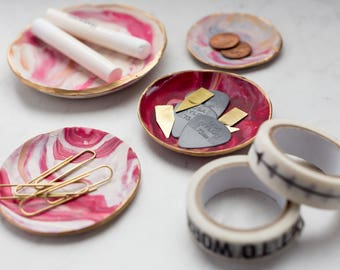 Magenta, Pink, White and Gold Clay Ring Dish, Trinket Dish, Catch All, Photographer Styling Dish