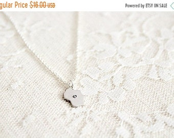 30% OFF SALE Tiny Wisconsin state pride charm necklace, silver plated state charm, silver plate chain, Ou Le Fromage Habite