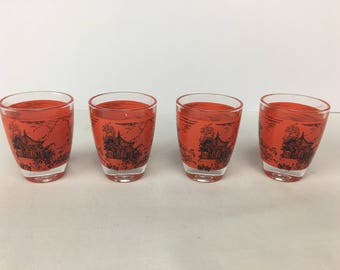 Vintage Japanese Sake Glasses, Japanese glass shot glasses, set of 4 vintage Sake shot glasses.