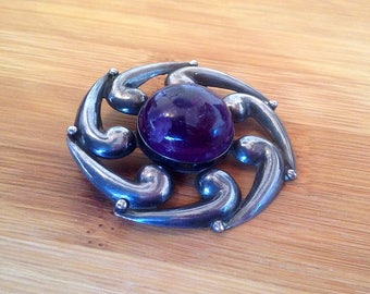 Sterling Silver Pinwheel Brooch, Purple Amethyst Cabochon Stone Focal, Joyería Broche, Pachuca Mexico, Swirl, .925, Roll Lock, Gift Her/Wife