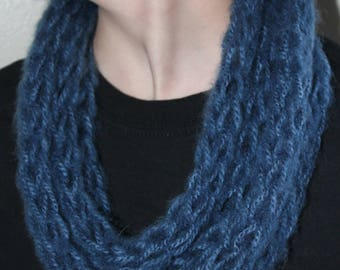 Denim Finger Knit Infinity Scarf