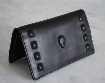 Bi Fold Leather Wallet covered Skull and Studs